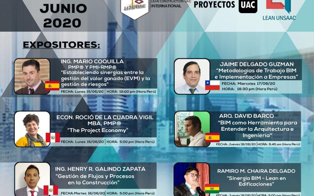 CICLO DE WEBINARS: PMI,LEAN CONSTRUCTION Y BIM